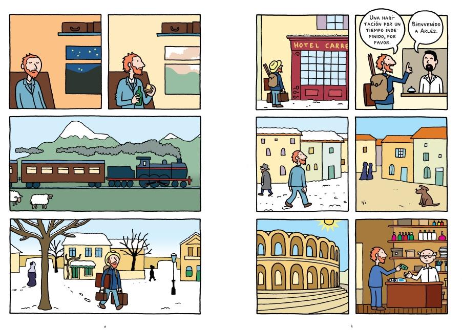 Una doble página del cómic sobre Van Gogh.