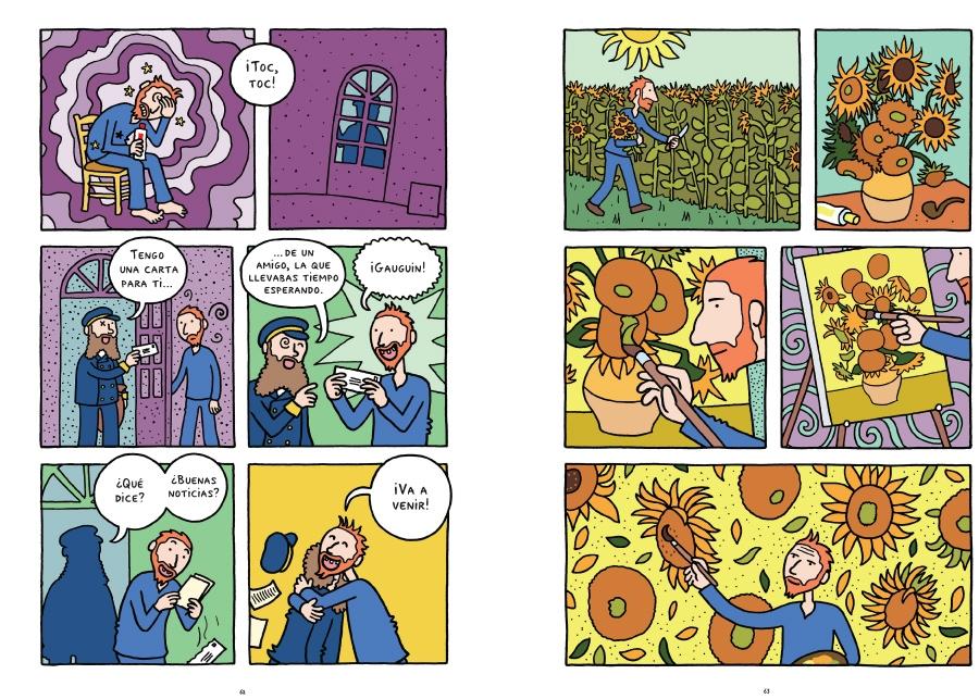 Doble página del cómic sobre Vicent Van Gogh.