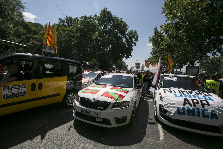 Manifestación de taxistas en Madrid.