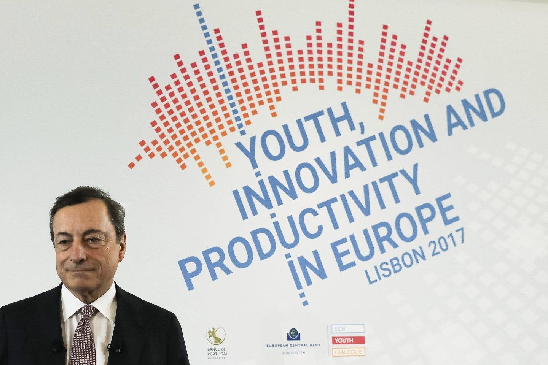 El presidente del BCE, Mario Draghi, en una conferencia en Lisboa.