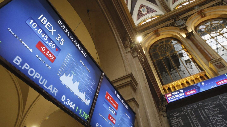 Banco Popular en la Bolsa de Madrid.