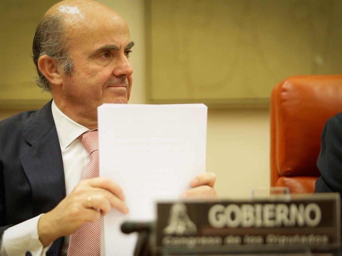 Luis de Guindos, en comparecencia en el Congreso de los Diputados.