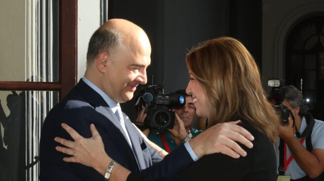 Pierre Moscovici y Susana Diaz, en el palacio de San Telmo.