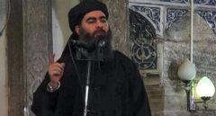 El califa Al Bagdadi en la mezquita Al Nur de Mosul