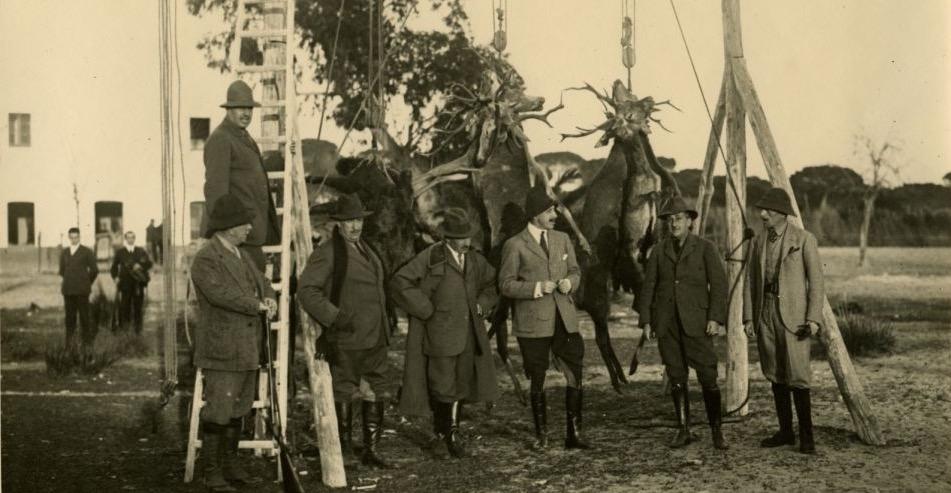 Alfonso XIII cazando en Doñana