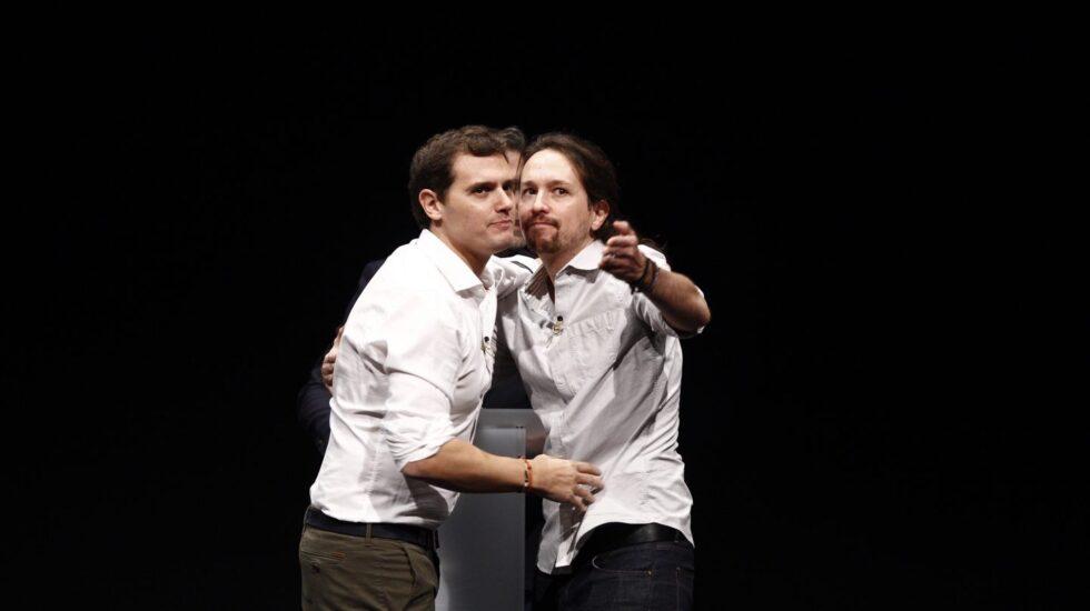 Albert Rivera y Pablo Iglesias en un debate en 2015, antes de las elecciones del 20D.