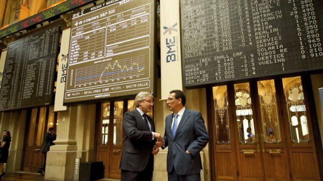 Enrique Goñi y Antonio Pulido, ex copresidentes de Banca Cívica, en la Bolsa de Madrid.