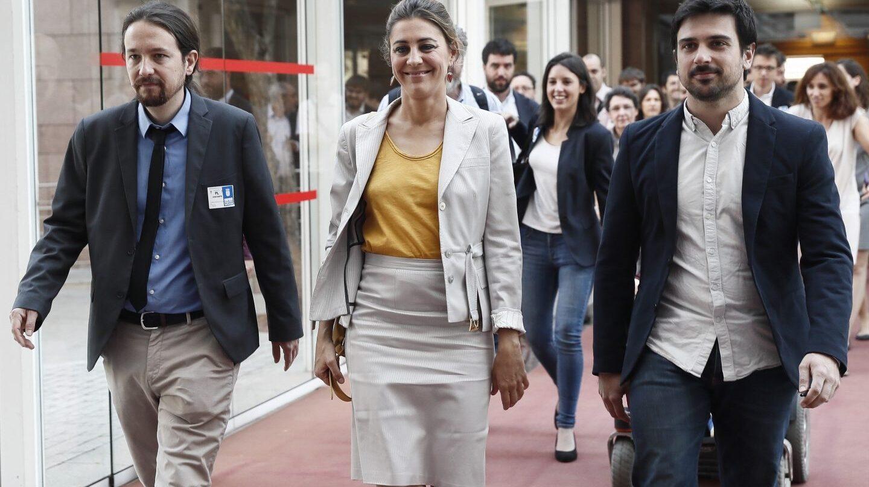 Pablo Iglesias, Lorena Ruiz-Huerta y Ramón Espinar en la Asamblea de Madrid.