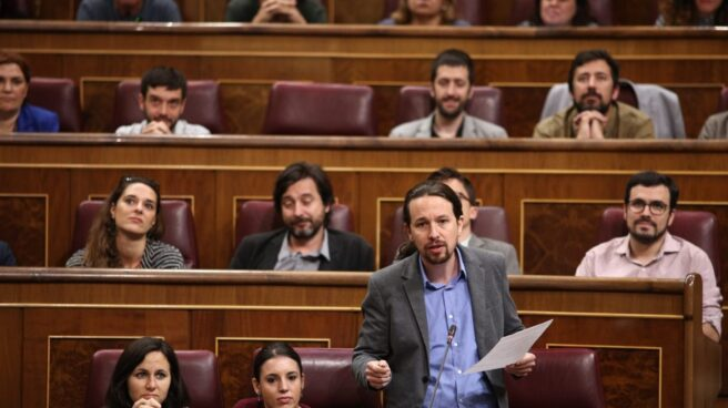 En la parte inferior, el líder de Podemos, Pablo Iglesias; en la parte superior, el segundo por la izquierda, Juan Manuel del Olmo.