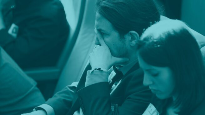 Pablo Iglesias, líder de Podemos, junto a Irene Montero, portavoz de la formación en el Congreso.