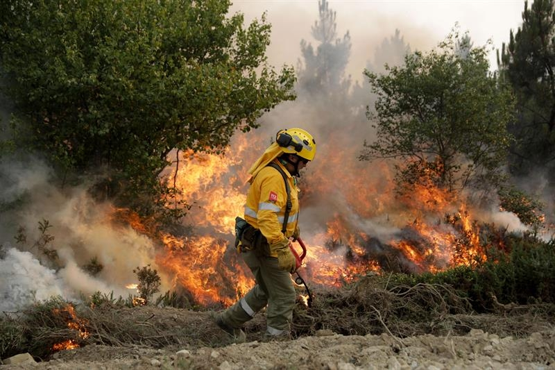 Un bombero español enciende un fuego de manera controlada mientras combate un incendio en Pampilhosa da Serra (Portugal).