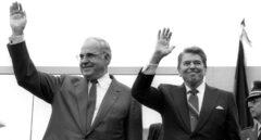 Helmut Kohl, junto al presidente norteamericano Ronald Reagan.