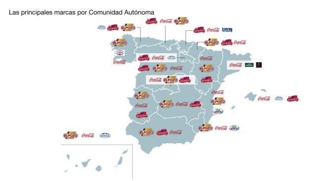 Mapa que muestra la distribución de las marcas más vendidas por comunidad autónoma