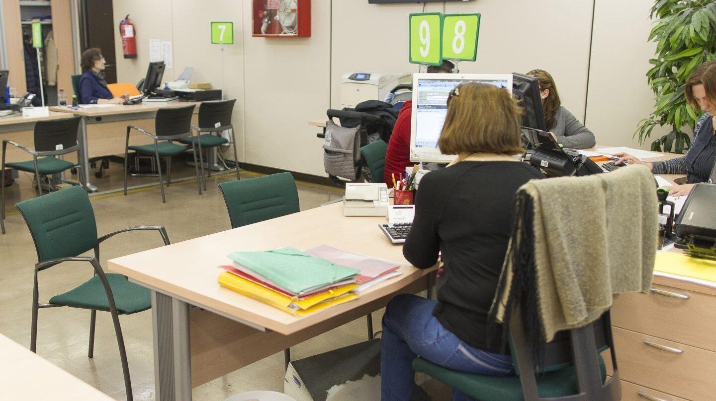 Interior de una de las Oficinas de Empleo en la que trabajan interinos.