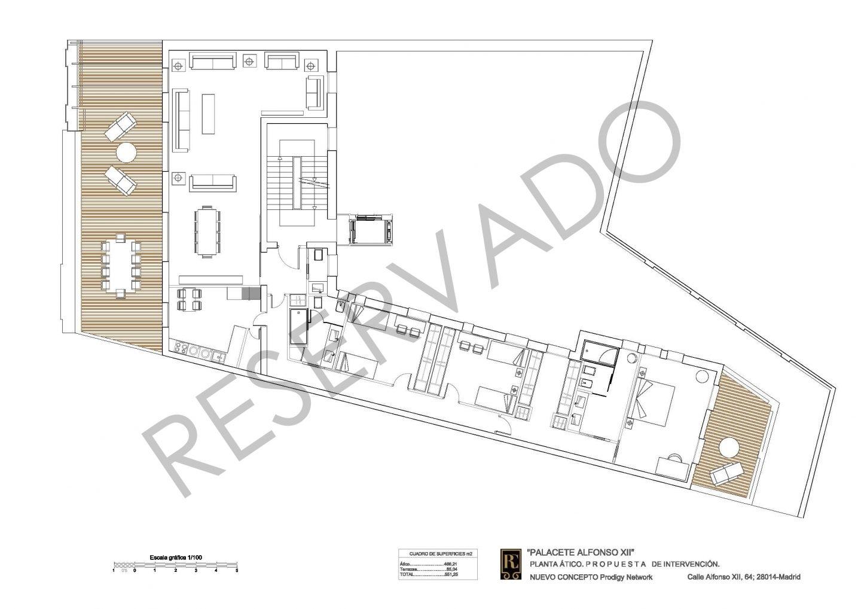 Plano de los pisos que se están construyendo en el Palacete.