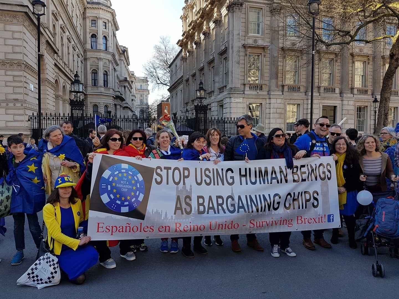 Manifestación de españoles residentes en el Reino Unido.