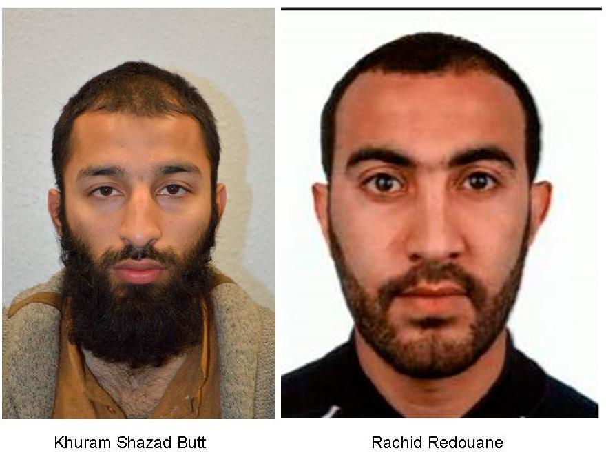 Khuram Shazad Butt (izquierda) y Rachid Redouane, identificados como los terroristas de Londres.