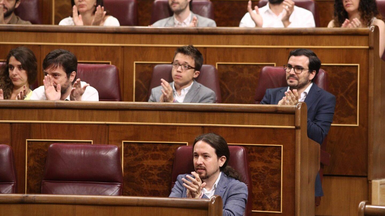 Tribuna de Unidos Podemos en el Congreso de los Diputados.