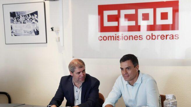 El secretario general de CCOO, Unai Sordo, y el del PSOE, Pedro Sánchez.