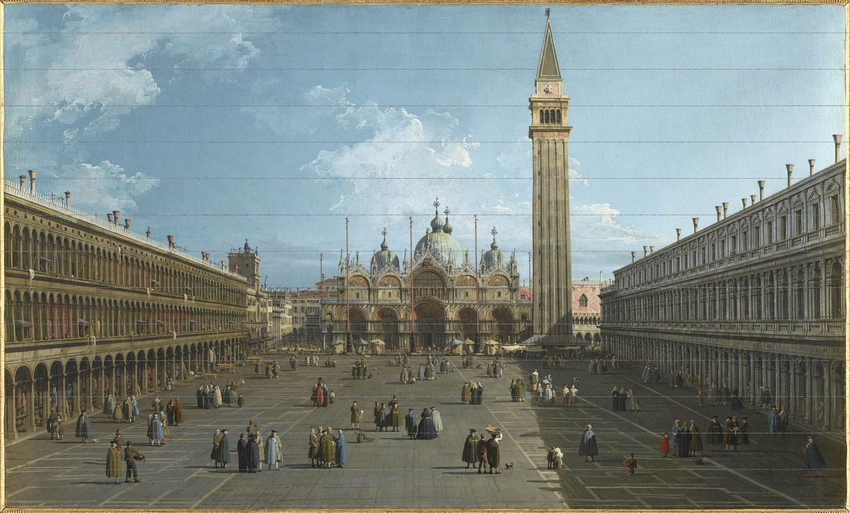 Obra de canaleto Vista de la plaza de San Marcos en Venecia hacia el este en dirección a la Basílica, h. 1739-1740