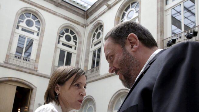 Forcadell y Junqueras, en el Palau de la Generalitat.