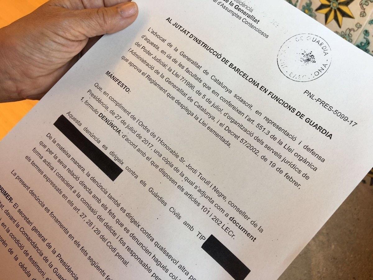 Denuncia de la Generalitat a la Guardia Civil.