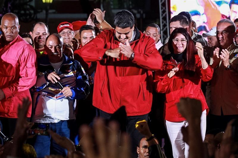 El presidente de Venezuela, Nicolás Maduro, celebra en Caracas la votación de la Asamblea Constituyente.