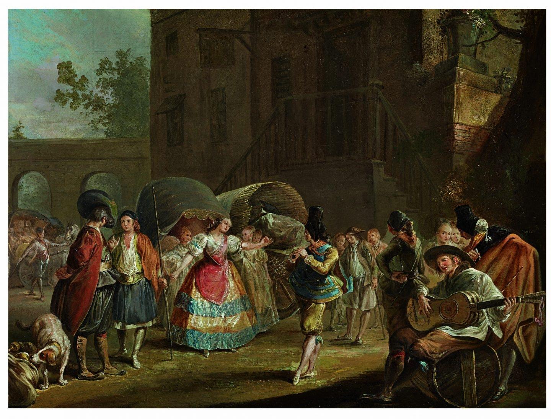 Luis Paret y Alcázar (1746-1799) Baile popular en la puerta de una taberna, h. 1770-1775