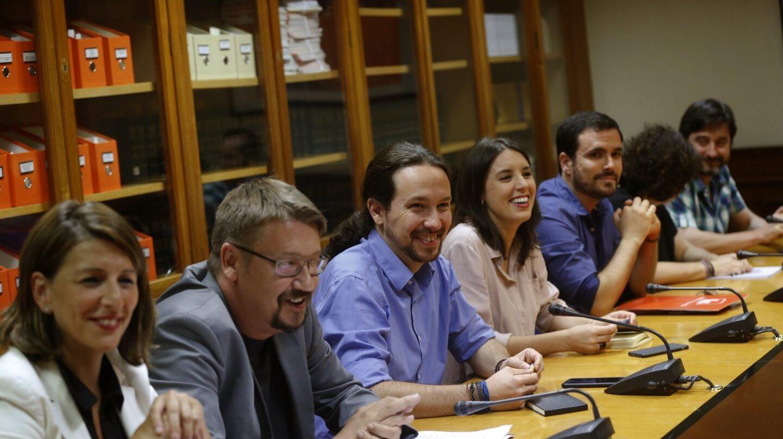 Pablo Iglesias, en la reunión con el PSOE.