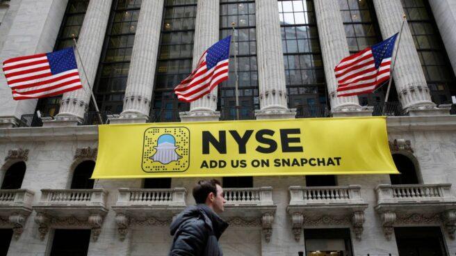La bolsa de Nueva York con el logo de Snapchat.