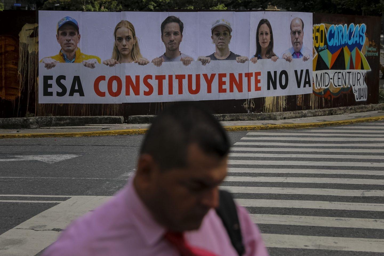 Pancarta contra la Asamblea Constituyente en Caracas.