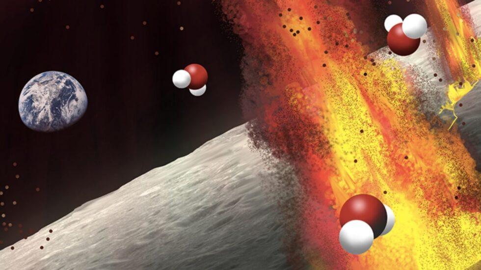 Agua en los volcanes de la Luna