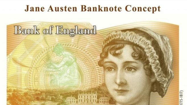 Jane Austen en el billete de 10 libras.