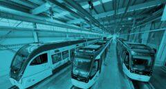 Trenes en las instalaciones de CAF.