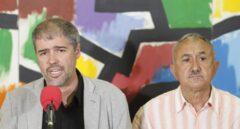 Los secretarios generales de CCOO y UGT, Unai Sordo y Pepe Álvarez.