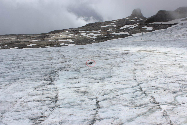 Lugar donde han sido encontrados los cuerpos en el glaciar de Tsanfleuron.