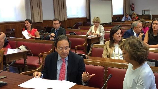 El portavoz del PP en la comisión del Senado, Luis Aznar
