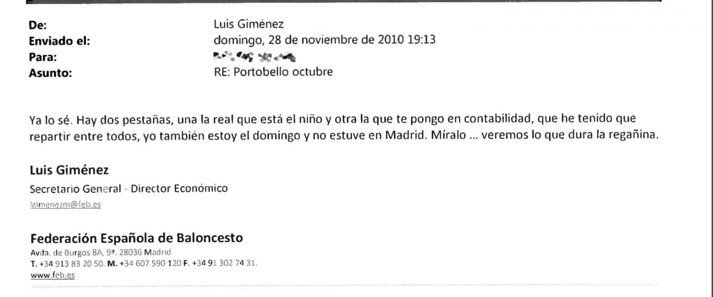 Correo electrónico enviado por Luis Giménez en el que habla de una 'doble contabilidad'