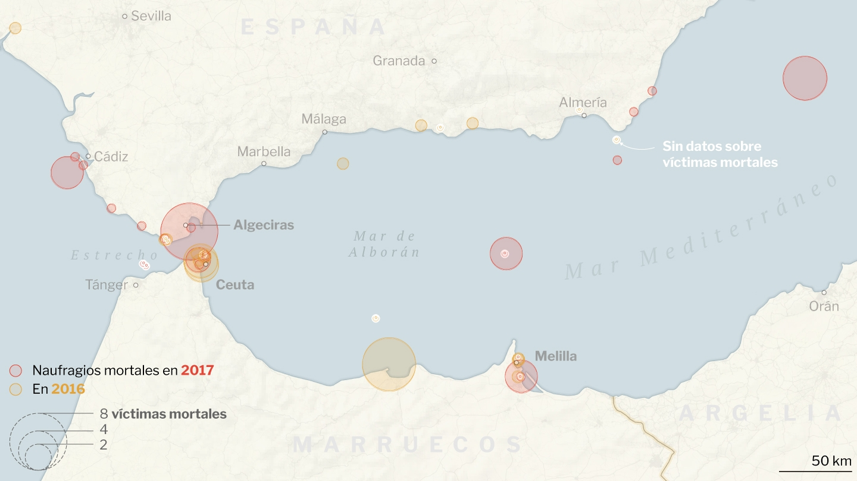 La mayoría de las muertes se producen en el Estrecho de Gibraltar