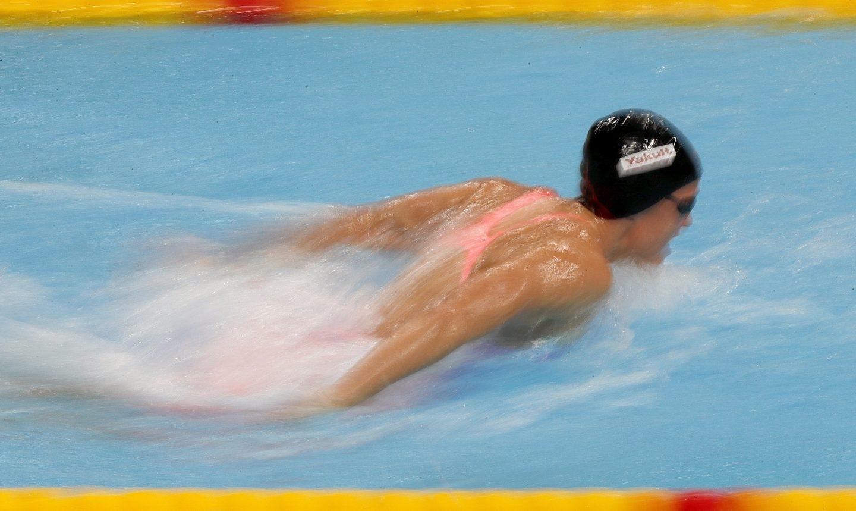 El nadadora española Mireia Belmonte durante la semifinal de los 200m mariposa femeninos del Mundial de Natación que se disputa en Budapest (Hungría)