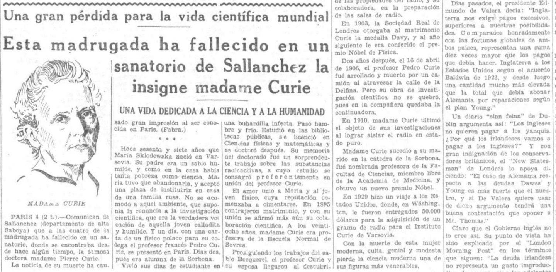La muerte de Marie Curie en el diario La Voz, 1934