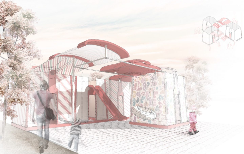 Parque infantil a partir de contenedores de vidrio