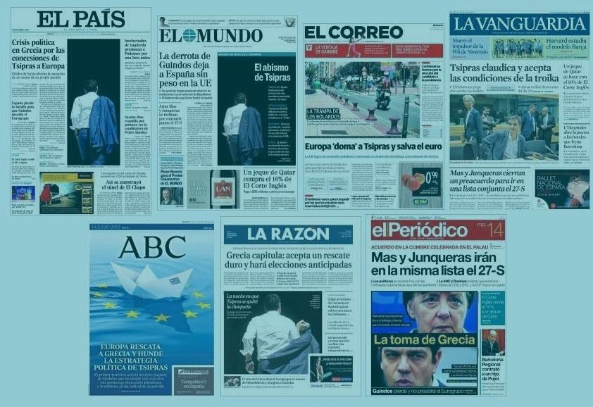 Portadas de los principales periódicos españoles.