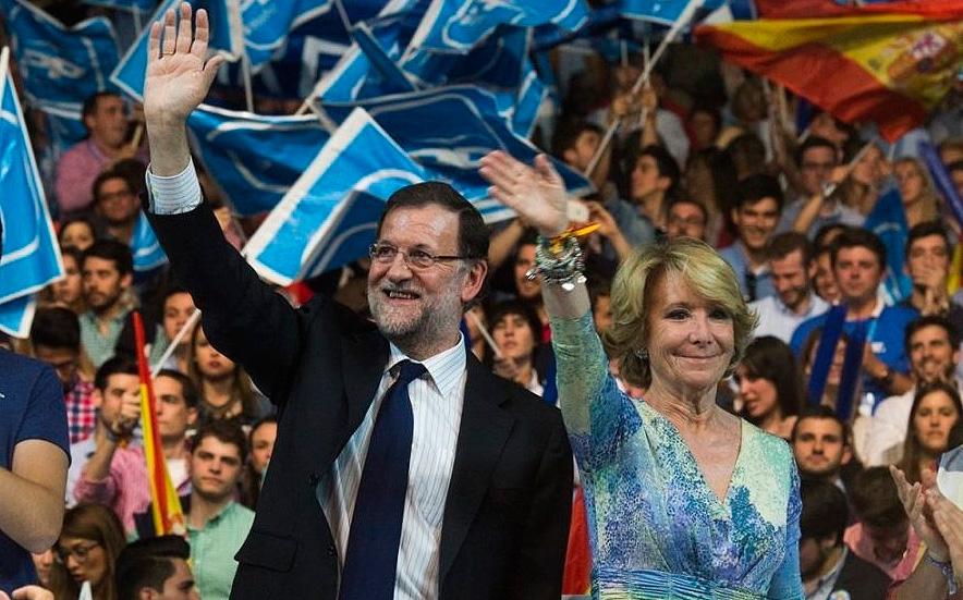 Rajoy y Aguirre, en el cierre de campaña de las elecciones de 2015.