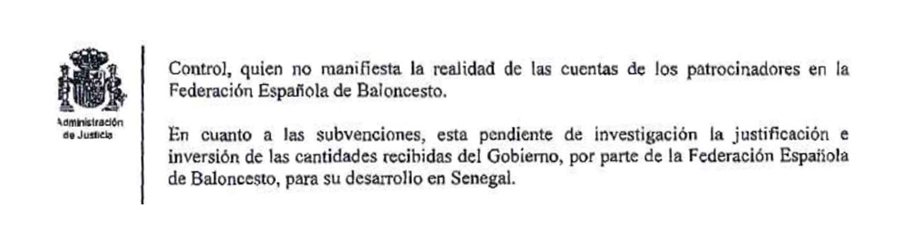Detalle del auto en el que el juez confirma que investigará las ayudas para Senegal.