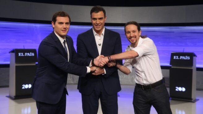 Rivera, Sánchez e Iglesias, durante un debate electoral.