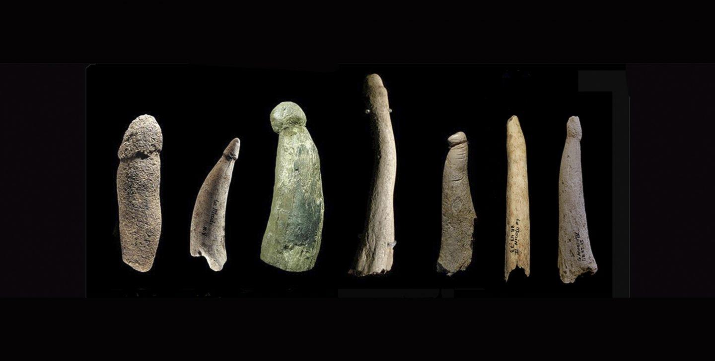 Falos en piedra y asta hallados en diversos yacimientos europeos.
