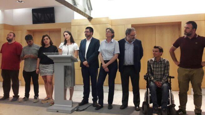 Varios ediles de Ahora Madrid comparecen el día de la imputación de Sánchez Mato y Mayer, el 21 de junio.