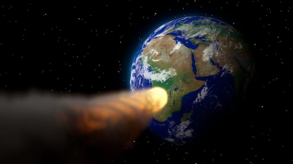 Simulación un asteroide como el que acabó con los dinosauiros cayendo sobre la Tierra.