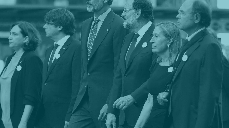 Las autoridades, antes de la manifestación de Barcelona.
